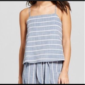 Universal Thread Chambray striped cropped tank S